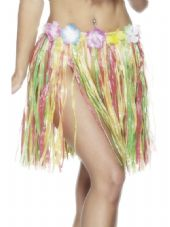 Luau Hawaiian Multi-Colour Hula Skirt With Flower Detail